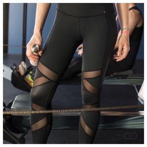 CALIA Shine Textured Pieced Leggings Black Size M